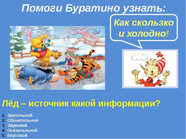 Лёд – источник какой информации? Зрительной Обонятельной Звуковой Осязательно...