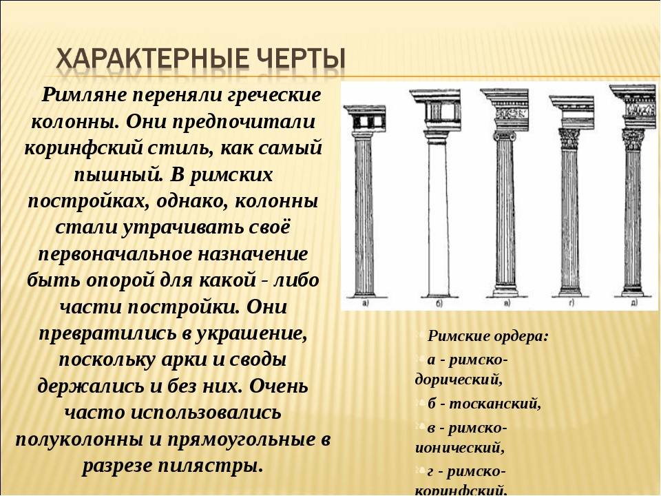 Римляне переняли греческие колонны. Они предпочитали коринфский стиль, как са...