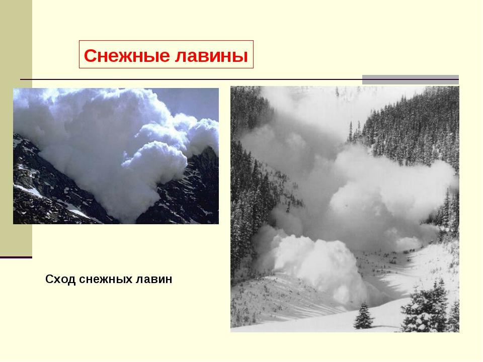 Снежные лавины Сход снежных лавин