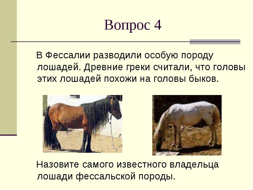 Вопрос 4 В Фессалии разводили особую породу лошадей. Древние греки считали, ч...