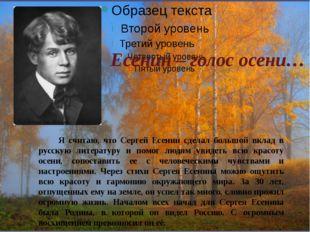 Есенин – голос осени… Я считаю, что Сергей Есенин сделал большой вклад в русс