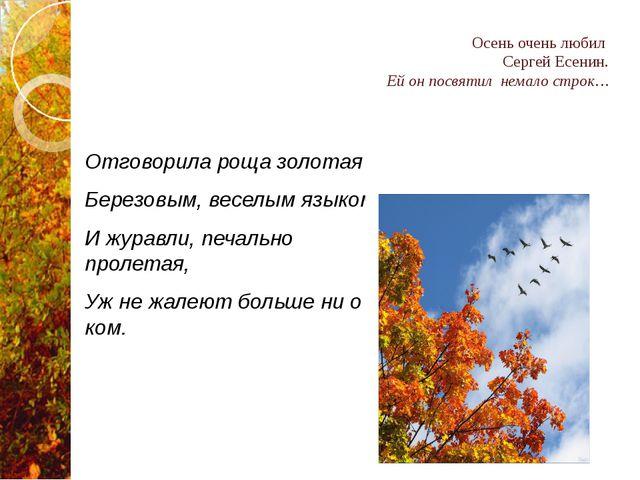 Осень очень любил Сергей Есенин. Ей он посвятил немало строк… Отговорила роща...