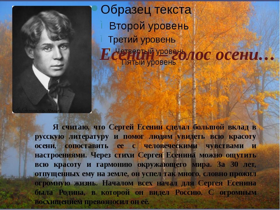 Есенин – голос осени… Я считаю, что Сергей Есенин сделал большой вклад в русс...