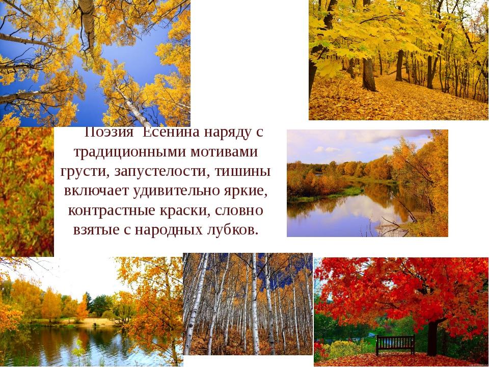Поэзия Есенина наряду с традиционными мотивами грусти, запустелости, тишины...