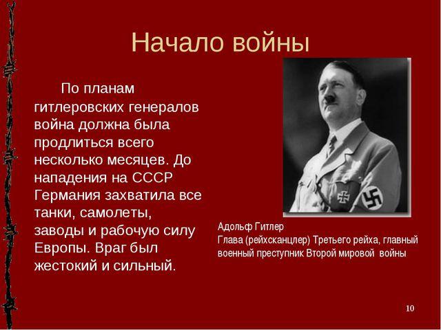 Начало войны Адольф Гитлер Глава (рейхсканцлер) Третьего рейха, главный военн...