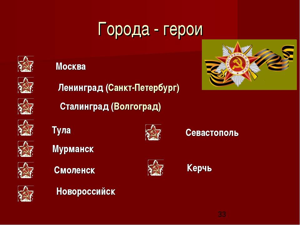 Города - герои Москва Ленинград (Санкт-Петербург) Сталинград (Волгоград) Тула...