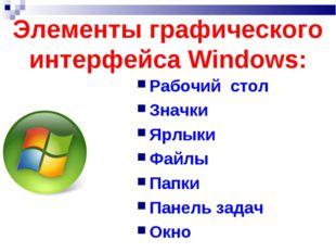 Элементы графического интерфейса Windows: Рабочий стол Значки Ярлыки Файлы Па