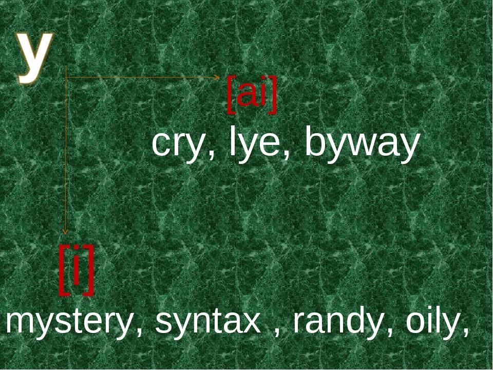 [ai] [i] cry, lye, byway mystery, syntax, randy, oily,