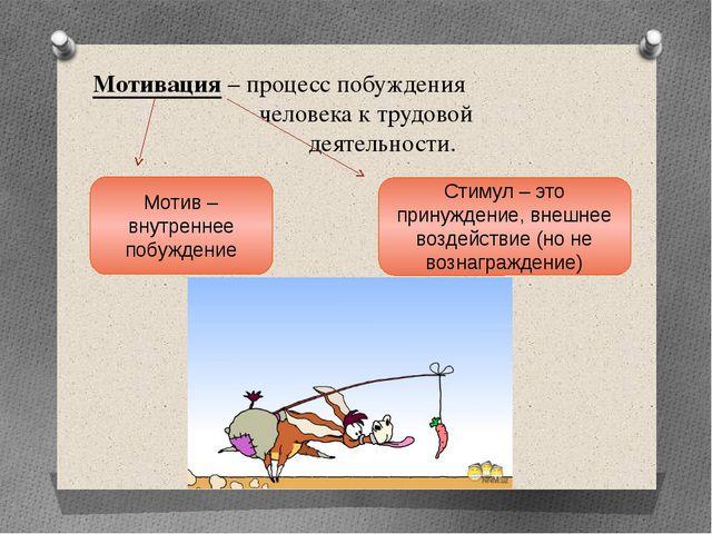Мотивация – процесс побуждения человека к трудовой деятельности. Мотив – внут...
