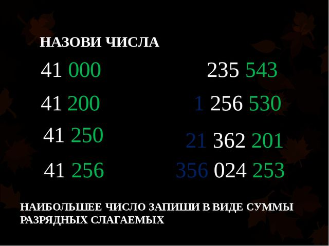 НАЗОВИ ЧИСЛА 41 000 41 200 41 250 41 256 235 543 1 256 530 21 362 201 356 024...