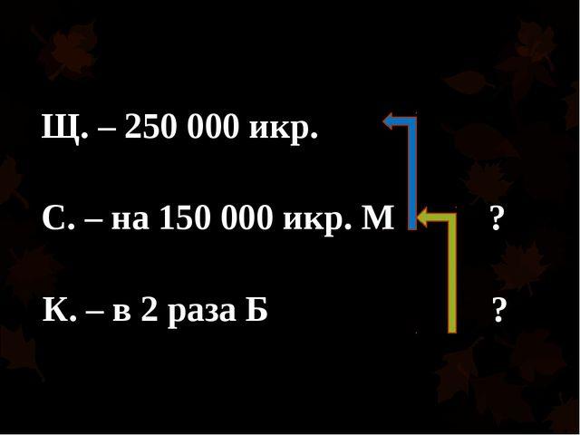 Щ. – 250 000 икр. С. – на 150 000 икр. М К. – в 2 раза Б ? ?
