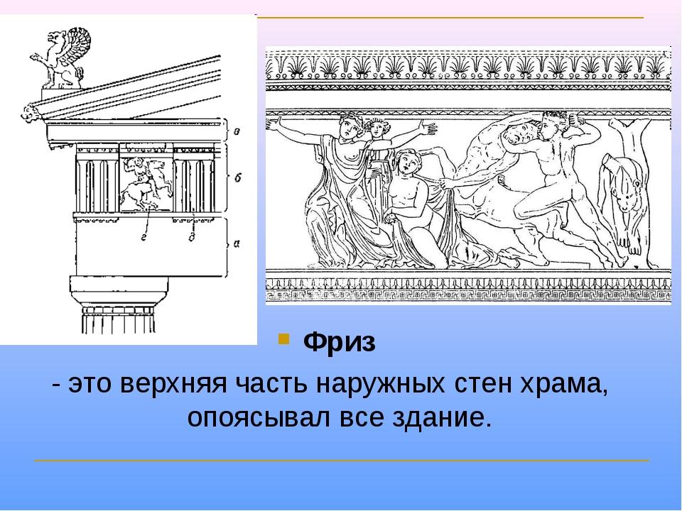 Фриз - это верхняя часть наружных стен храма, опоясывал все здание.