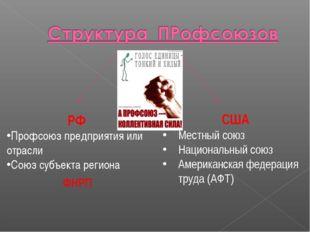 РФ Профсоюз предприятия или отрасли Союз субъекта региона США Местный союз На