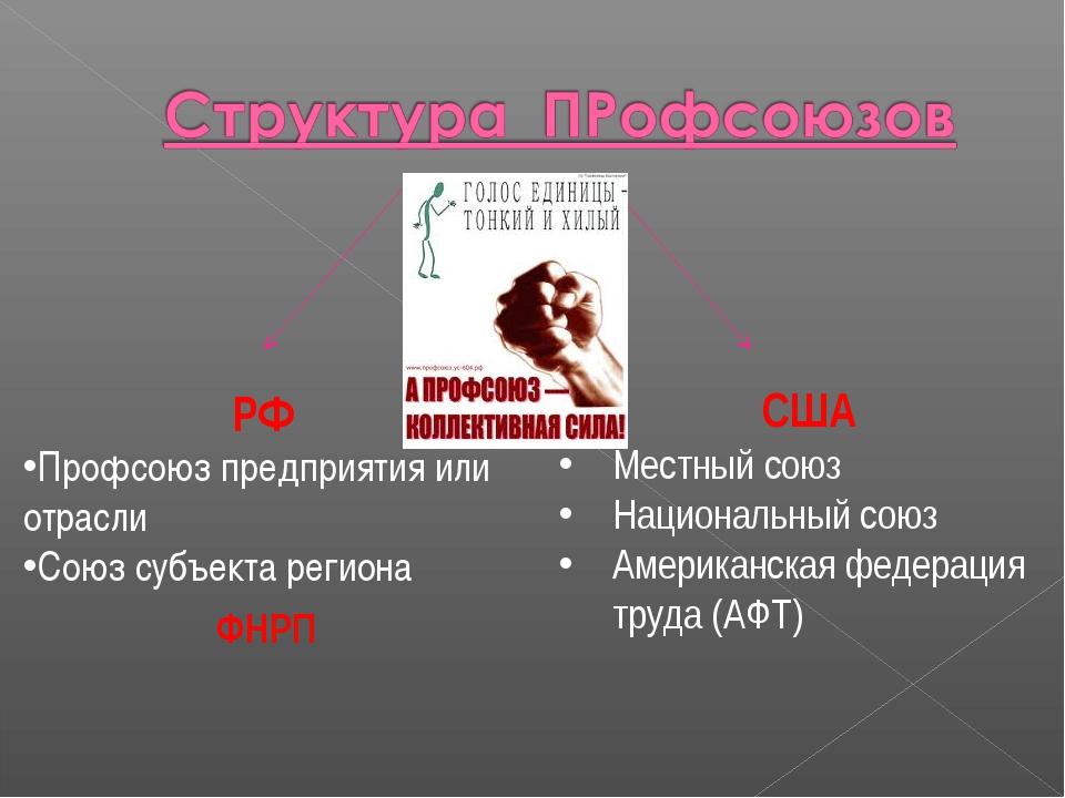 РФ Профсоюз предприятия или отрасли Союз субъекта региона США Местный союз На...