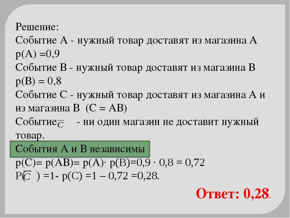 Решение: Событие А - нужный товар доставят из магазина А р(А) =0,9 Событие В...