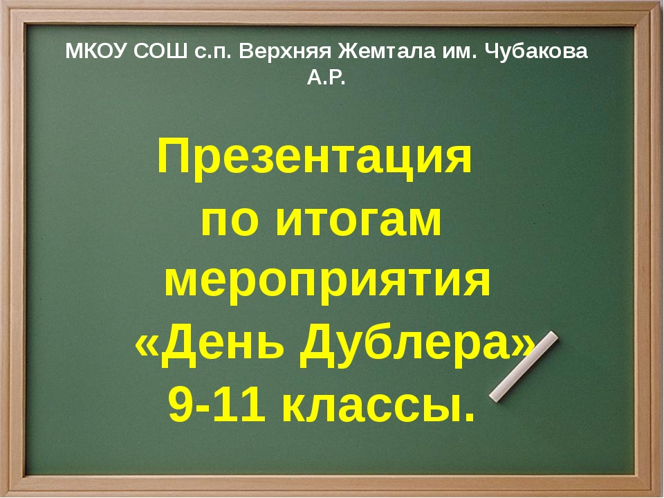 МКОУ СОШ с.п. Верхняя Жемтала им. Чубакова А.Р. Презентация по итогам меропр...