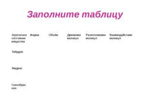 Заполните таблицу Агрегатное состояние веществаФорма Объём Движение молеку