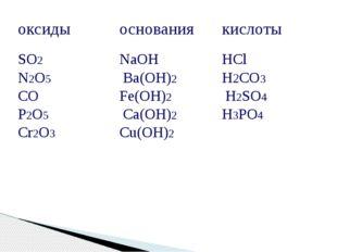 оксиды основания кислоты SO2 N2O5 CO P2O5 Cr2O3 NaOH Ba(OH)2 Fe(OH)2 Ca(OH)2