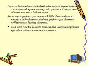 Образ любого изображения, высвечиваемого на экране монитора с помощью совокуп