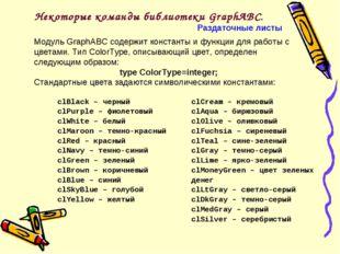 Некоторые команды библиотеки GraphABC. Раздаточные листы Модуль GraphABC соде