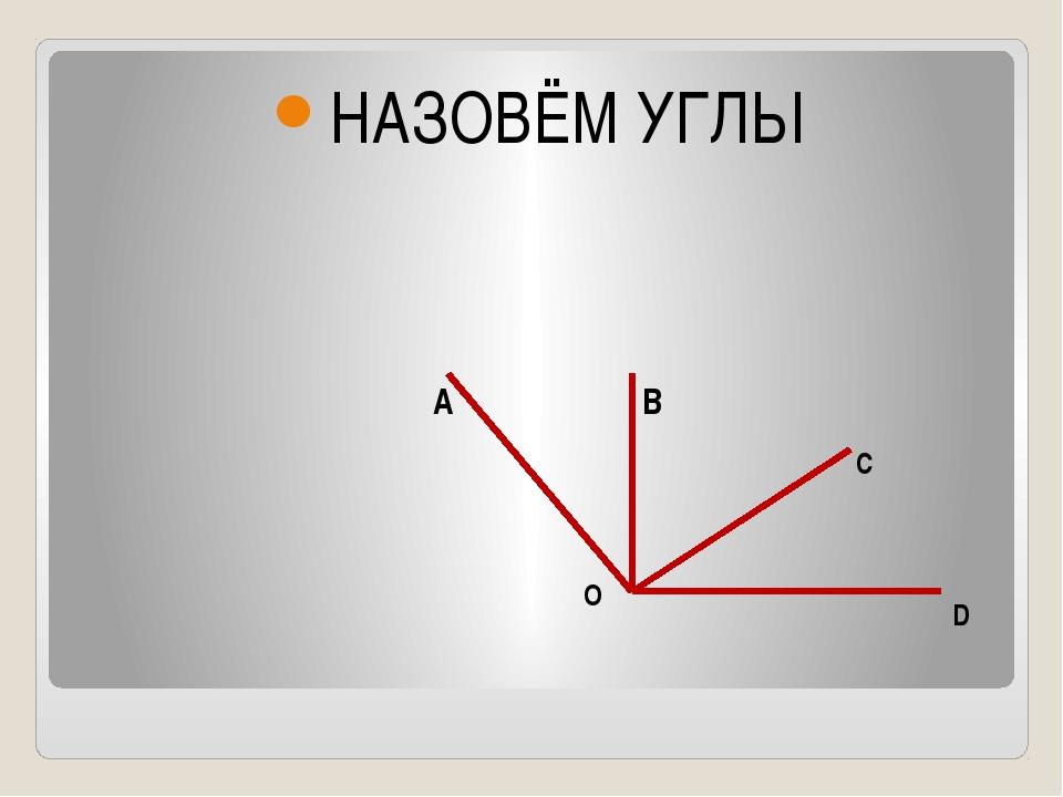 НАЗОВЁМ УГЛЫ А B C D O