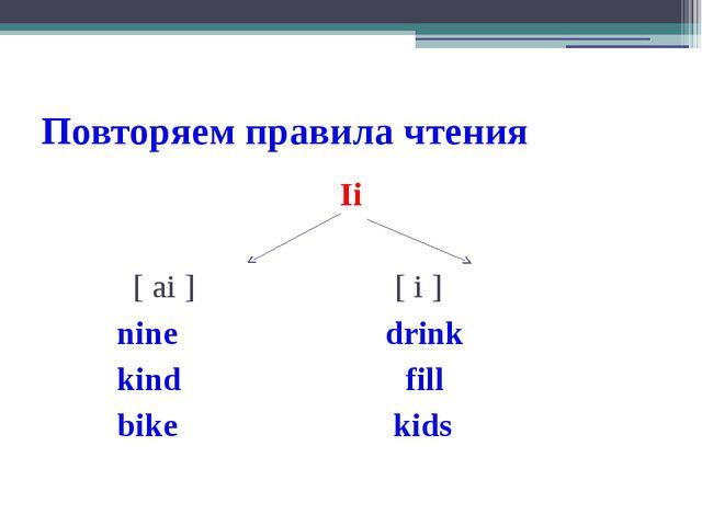Повторяем правила чтения Ii [ ai ] [ i ] nine drink kind fill bike kids