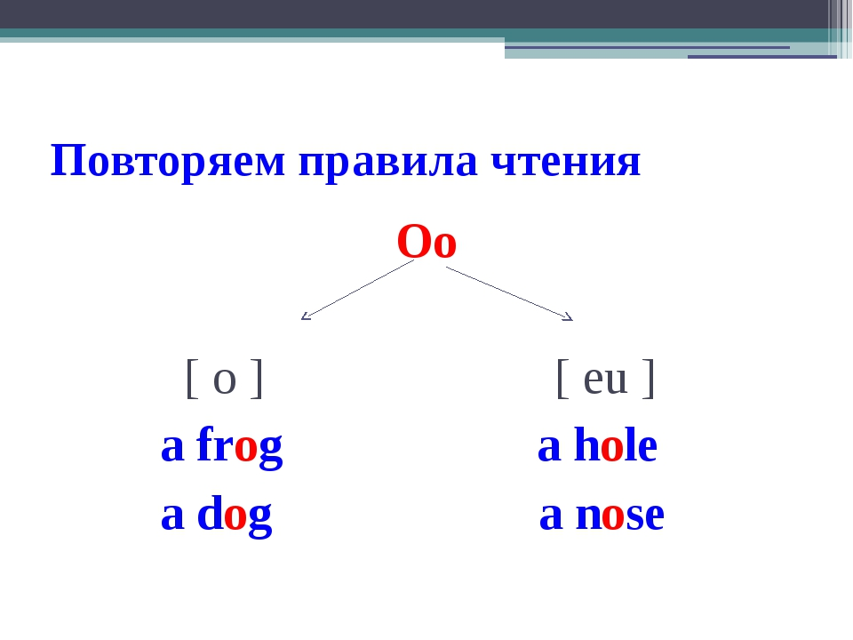 Повторяем правила чтения Oo [ o ] [ eu ] a frog a hole a dog a nose