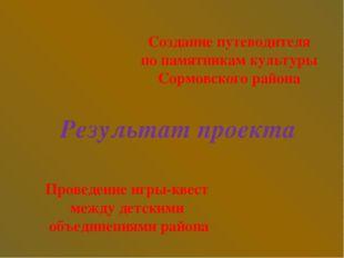 Результат проекта Создание путеводителя по памятникам культуры Сормовского ра