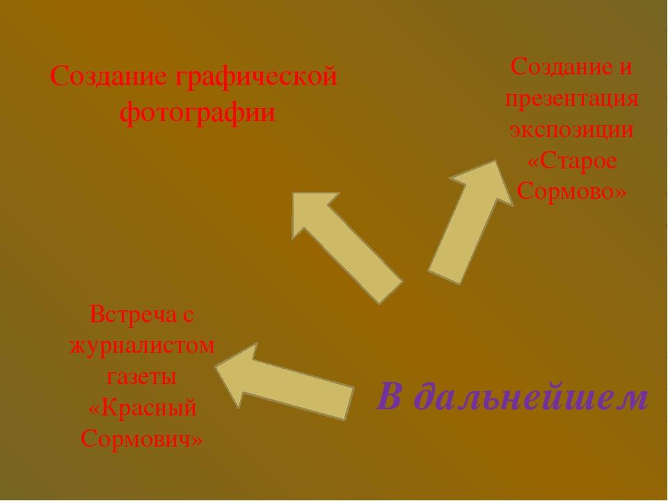 В дальнейшем Создание и презентация экспозиции «Старое Сормово» Встреча с жур...