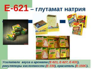 Е-621 – глутамат натрия Усилители вкуса и аромата (Е-621, Е-627, Е-631), регу