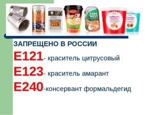 ЗАПРЕЩЕНО В РОССИИ Е121- краситель цитрусовый Е123- краситель амарант Е240-ко