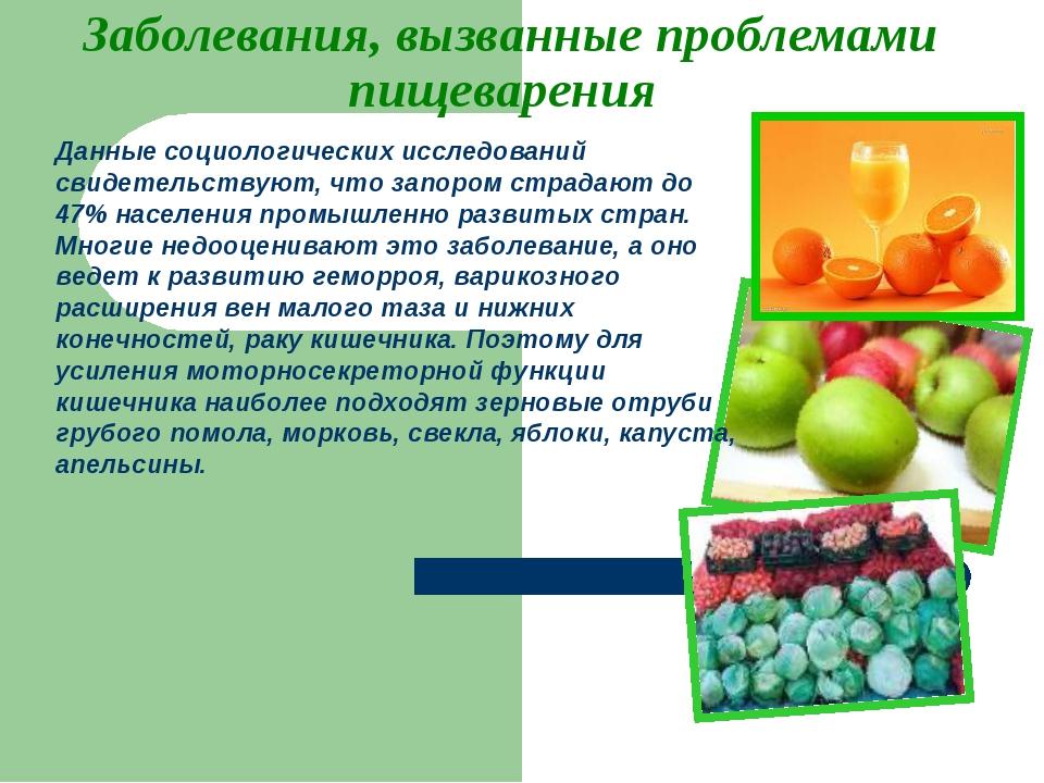 Заболевания, вызванные проблемами пищеварения Данные социологических исследов...