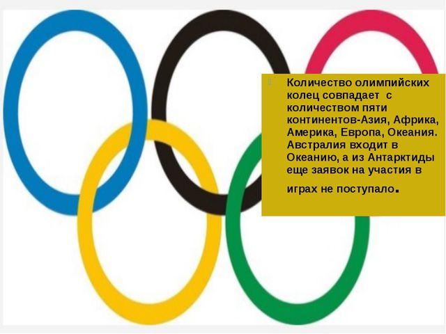 Количество олимпийских колец совпадает с количеством пяти континентов-Азия, А...