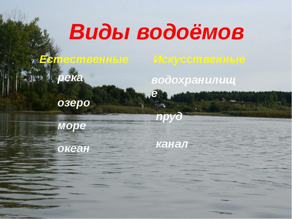 Виды водоёмов Естественные Искусственные река озеро море океан водохранилище...