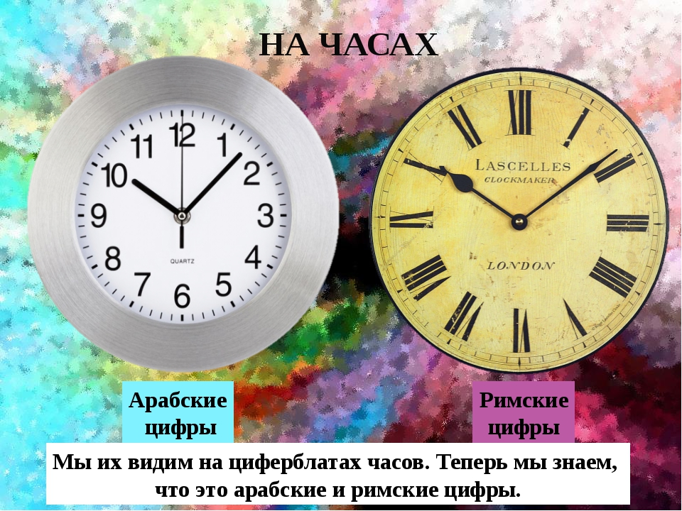 Арабские цифры НА ЧАСАХ Римские цифры Мы их видим на циферблатах часов. Тепе...