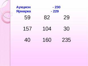 Аукцион - 230 Ярмарка - 229 598229 15710430 40160235