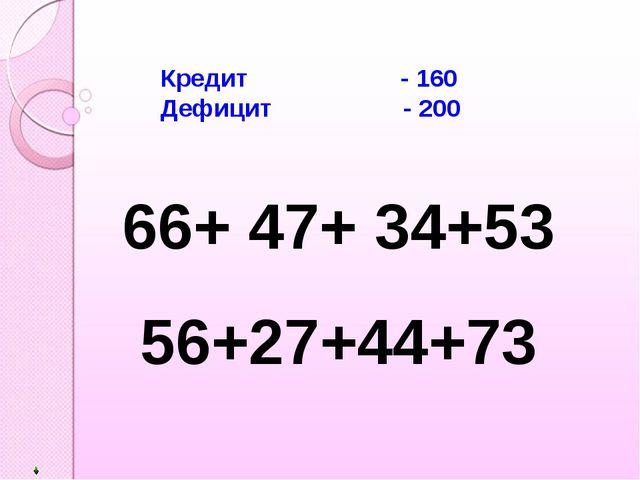 Кредит - 160 Дефицит - 200 66+ 47+ 34+53 56+27+44+73