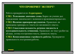 ЧТО ПРОВЕРЯЕТ ЭКСПЕРТ? Работа проверяется по 4 критериям: С3К1. Толкование зн