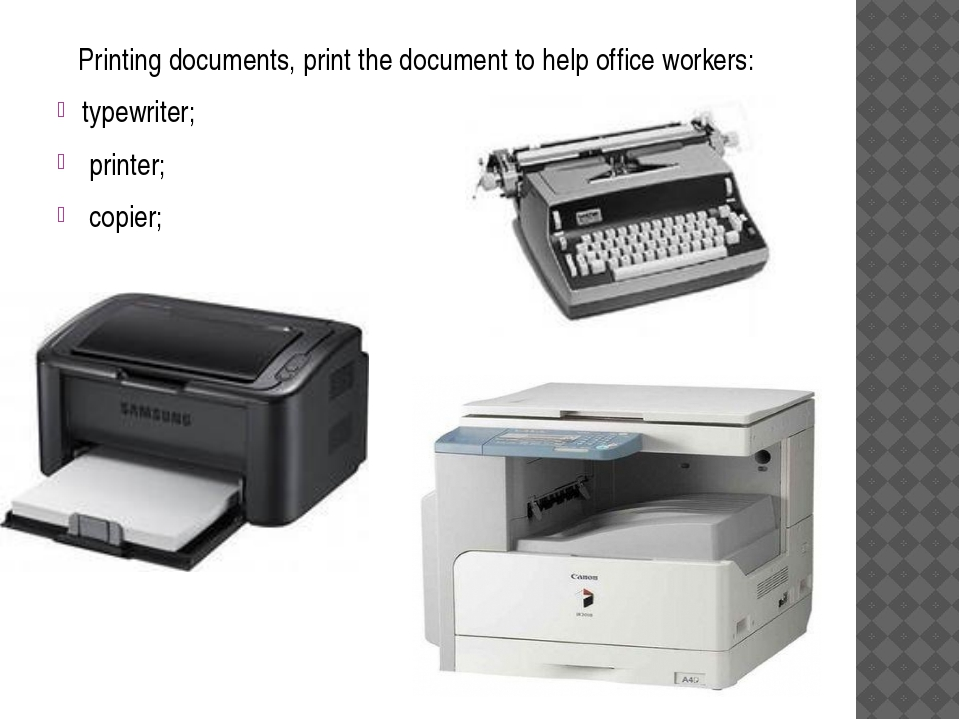 Printing documents, print the document to help office workers: typewriter; p...