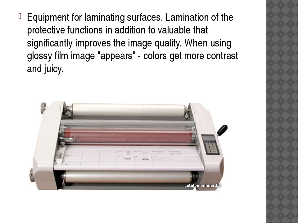 Equipment for laminating surfaces. Lamination of the protective functions in...