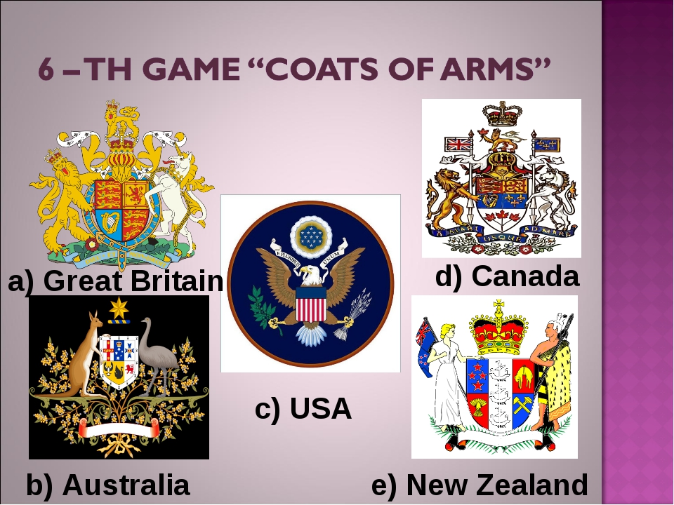 b) Australia a) Great Britain d) Canada c) USA e) New Zealand