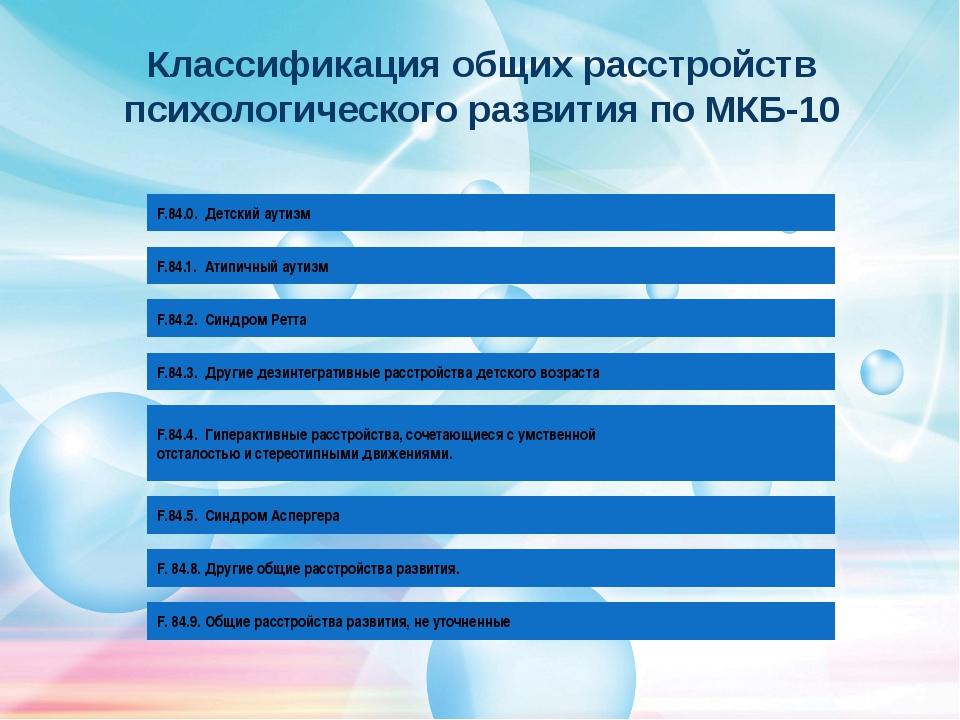 Классификация общих расстройств психологического развития по МКБ-10 3 F.84.0....