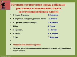 Установи соответствие между районами расселения и названиями союзов восточное