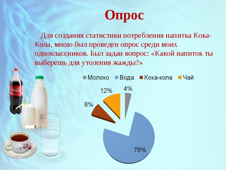 Опрос Для создания статистики потребления напитка Кока-Кола, мною был проведе...