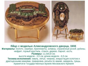 Яйцо с моделью Александровского дворца, 1908 Материалы: Золото, серебро, бри