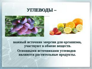 УГЛЕВОДЫ – важный источник энергии для организма, участвуют в обмене веществ
