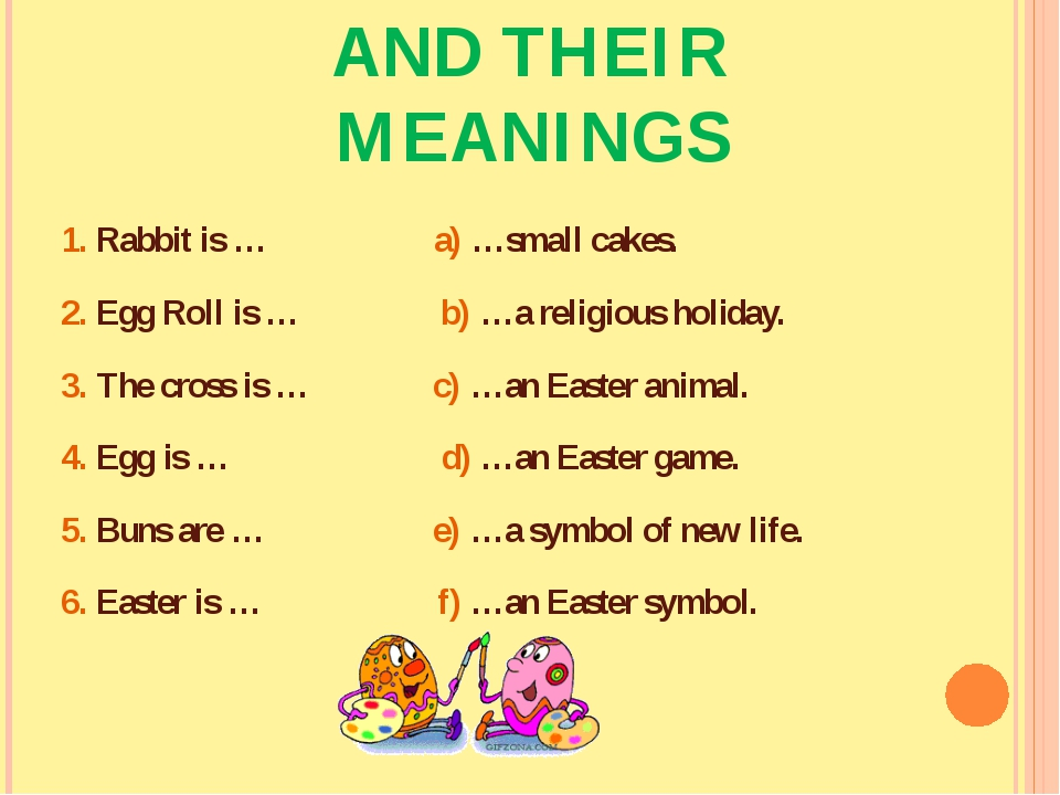 MATCH THE WORDS AND THEIR MEANINGS 1. Rabbit is … a) …small cakes. 2. Egg Rol...