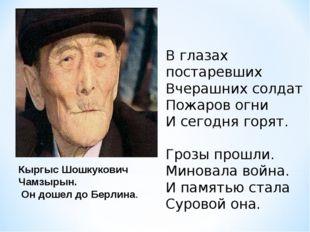 Кыргыс Шошкукович Чамзырын. Он дошел до Берлина. В глазах постаревших Вчерашн