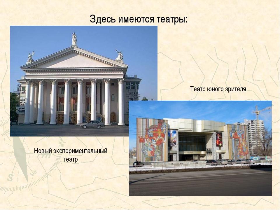 Здесь имеются театры: Театр юного зрителя Новый экспериментальный театр