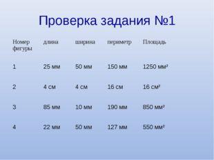 Проверка задания №1 Номер фигурыдлинаширинапериметрПлощадь 125 мм50 мм